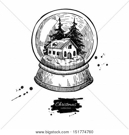 Snow globe with house and fir tree inside. Christmas vector hand drawn illustration. Holiday card and vintage decor element.