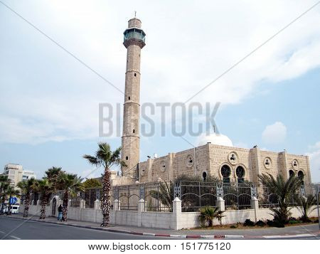 Minaret of Hasan-bey Mosque in Tel Aviv Israel Febuary 14 2011