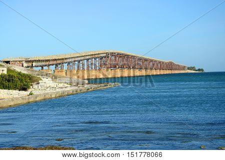 Bahia Honda Rail Bridge is a disused rail bridge connects Bahia Honda Key and Spanish Harbor Key near Key West, Florida Keys, USA.