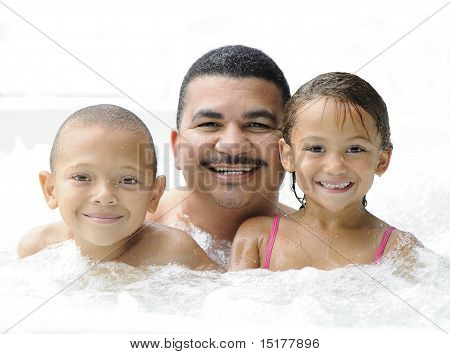 Happy father and kids