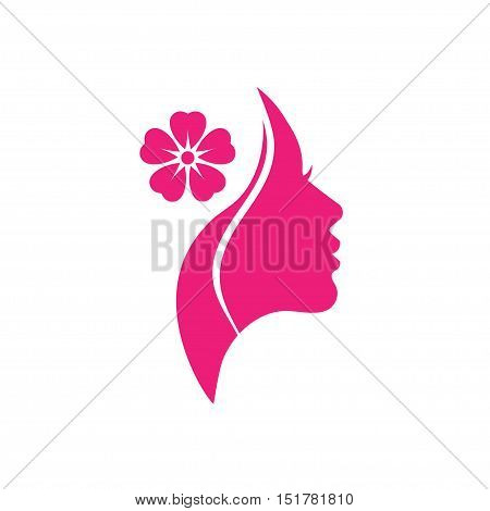 Vector logo for woman salons and shops. a young beautiful woman Stylized . Abstract logo for a beauty salon