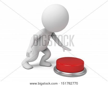 The 3d guy and a red button,3d render