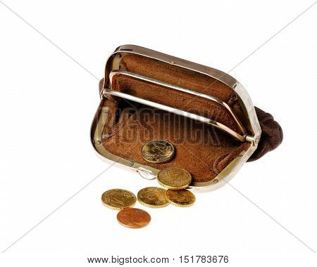 Brown open almost empty purse with euro cents coins isolated on white background.