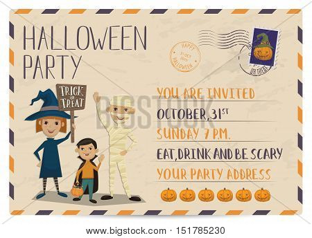 Flyer on Halloween party night. Layout for halloween ad. Halloween party invitation with halloween elements and place for text. Funny kids in halloween costumes mummy, vampire and witch. Cartoon Halloween kids characters. Halloween design elements.