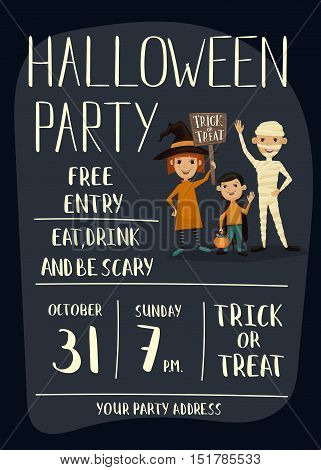Halloween party poster with halloween elements and place for text. Funny kids in Halloween costumes mummy, vampire and witch. Cartoon Halloween kids characters. Halloween design elements. Flyer on Halloween party night. Layout for halloween ad.