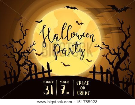 Halloween night party banner with full moon under hill in mystic forest at night. Halloween background, night scene with flying bats, fence and trees. Halloween night poster. Flyer for halloween party.