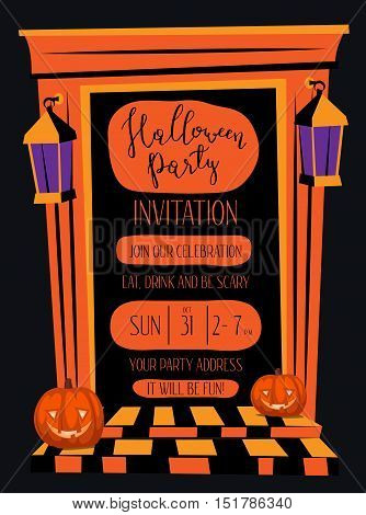 Halloween night party invitation with haunted house orange doorway and pumpkin head jack lanterns, cartoon vector illustration on black background. Halloween design template with space for text.