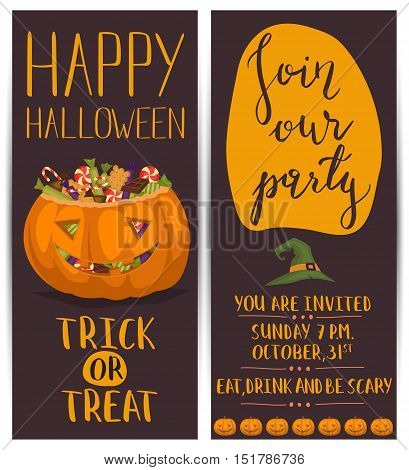 Flyer on Halloween party night. Layout for halloween ad. Halloween party invitation with halloween elements and place for text. Funny halloween pumpkin. Cartoon vector pumpkin. Halloween design elements.