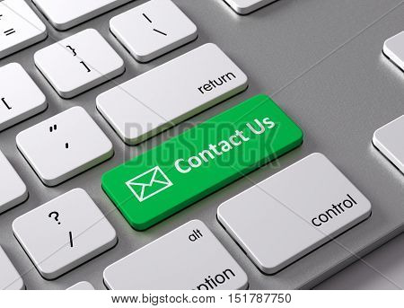 A keyboard with a green button Contact us