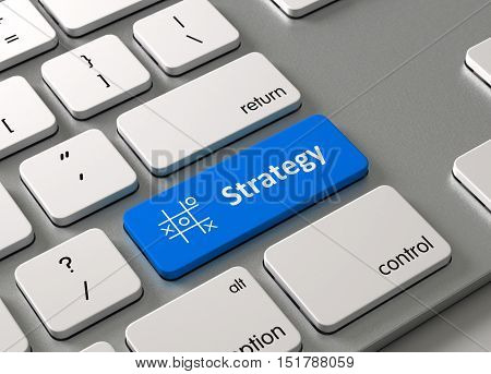 A keyboard with a blue button Strategy
