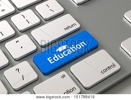 A keyboard with a blue button Education