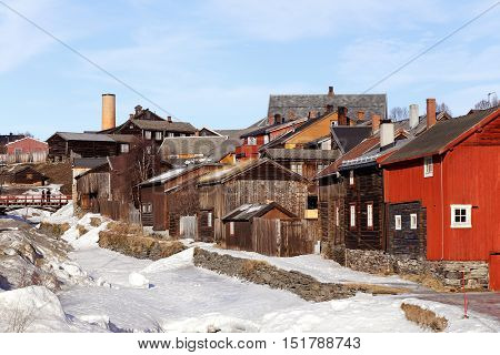 View of the old mining town Roros in Norway durimg the end of the winter season.