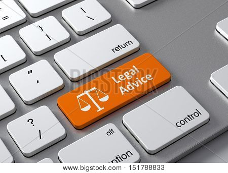 A keyboard with a orange button Legal Advice