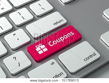 A keyboard with a red button Coupons