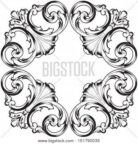 Black vintage ornament, baroque ornament,  scroll ornament, engraving border ornament, floral ornament, retro pattern ornament, antique ornament, style acanthus ornament, foliage swirl ornament, decorative ornament, filigree ornament, calligraphy ornament