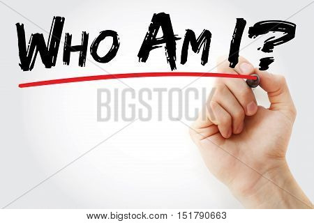 Hand Writing Who Am I? With Marker