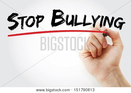 Hand writing Stop Bullying with marker concept background poster