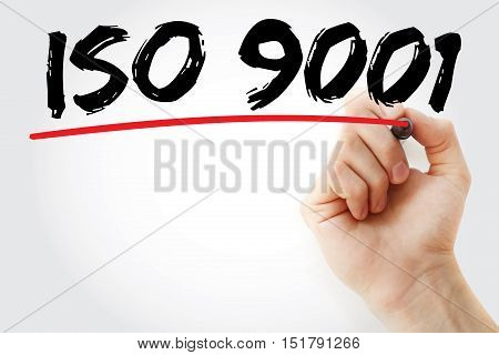 Hand Writing Iso 9001 With Marker