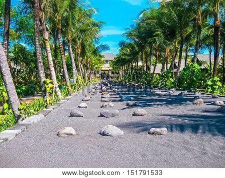 Nusa Dua, Bali, Indonesia - April 14, 2014: View of the The main entrance at St. Regis Bali Resort