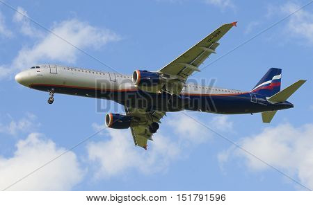 SAINT PETERSBURG, RUSSIA - JULY 24, 2015: The Airbus A321-211 (VP-BQR)