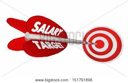 Salary Target Wage Income Earnings Arrow Raise 3d Illustration