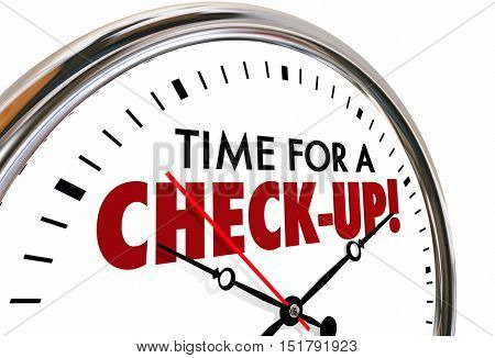 Time for a Check-Up Exam Evaluation Clock 3d Illustration