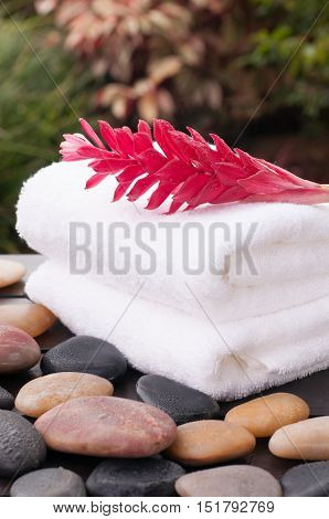 Tropical spa getaway with red ginger flower, towels and zen stones