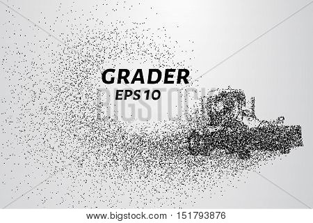 Grader particle. Construction equipment consists of small circles. Vector illustration