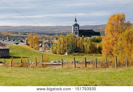 The church building in the Norwegian town Roros during the autumn season.