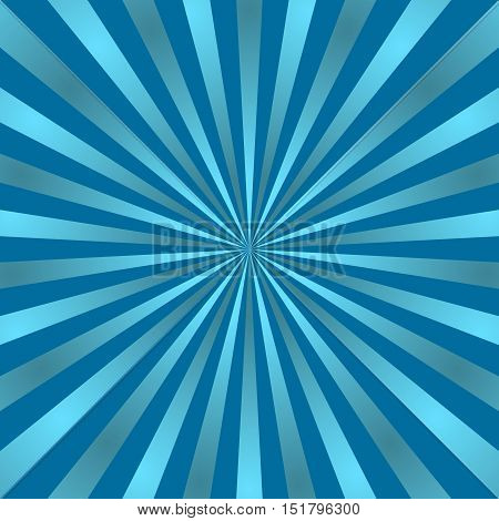 Blue rays poster. Popular ray star burst background television vintage. Dark-blue and light-blue abstract texture with sunburst flare beam. Retro art design. Glow bright pattern. Vector Illustration