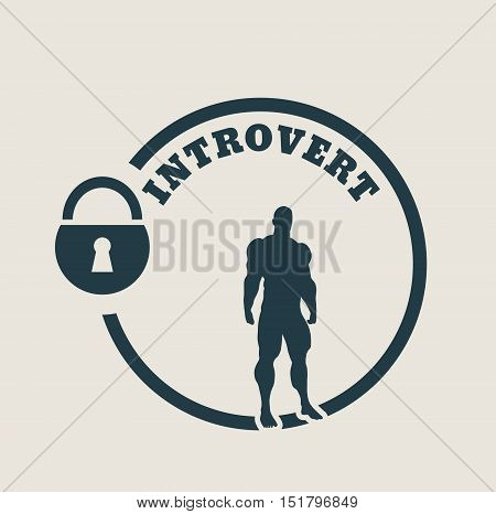 introvert simple icon metaphor. image relative to human psychology. muscular man in the locked circle