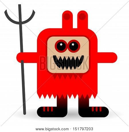 Red devil cartoon on white background, vector illustration