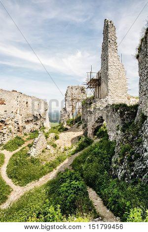Ruins of Plavecky castle Slovak republic central Europe. Cultural heritage. Travel destination. Vertical composition.