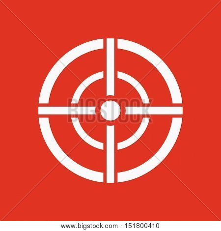 The aim bag icon. Crosshair and target, sight, sniper symbol. Flat Vector illustration. Button Set