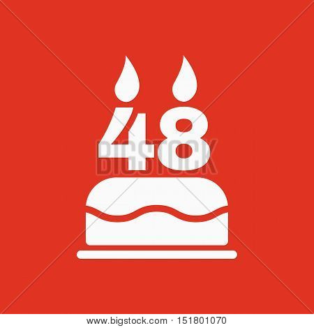 The birthday cake with candles in the form of number 48 icon. Birthday symbol. Flat Vector illustration