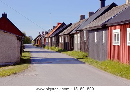 Fishing huts in fishing village Gnisvard in the Swedish province of Gotland.