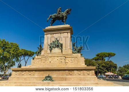 ROME – AUGUST 29: The Monument to Garibaldi on August 29 2016 in Rome