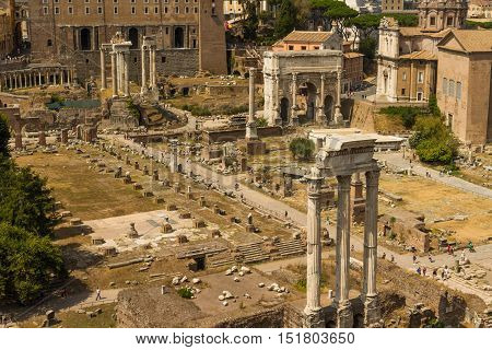 ROME - AUGUST 27: The Roman Forum and Temple of Castor and Pollux on August 27 2016 in Rome