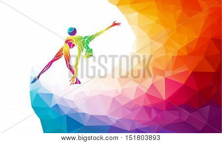 Creative silhouette of gymnastic girl. Art gymnastics with ball, colorful vector illustration with background or banner template in trendy abstract colorful polygon style and rainbow back
