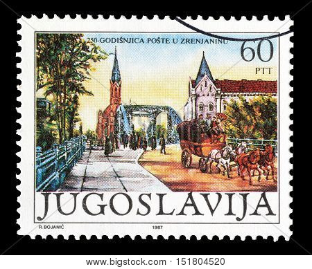 YUGOSLAVIA - CIRCA 1987 : Cancelled postage stamp printed by Yugoslavia, that shows Zrenjanin.