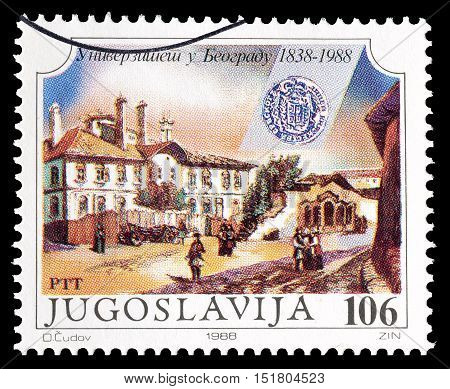 YUGOSLAVIA - CIRCA 1988 : Cancelled postage stamp printed by Yugoslavia, that shows Belgrade.