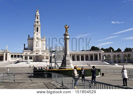 FATIMA, PORTUGAL - October 6, 2016: The Basilica of Our Lady of the Rosary of Fatima seen from the new Church of the Most Holy Trinity in Fatima Portugal
