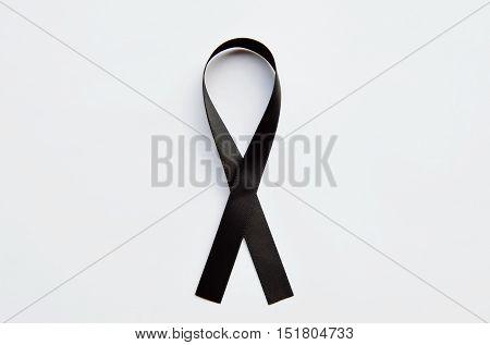 black mourning band on the white background