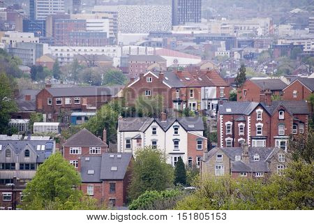 Sheffield UK 03 05 2014: Overlooking city homes on 03 May 2014 at Meersbrook Park Sheffield UK
