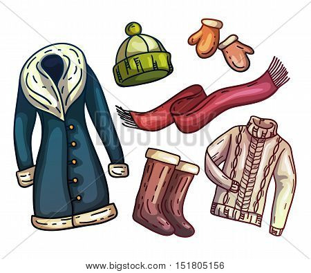 Set of warm winter clothes and accessories. Fashionable set clothes. Scarf, winter hat, winter coat, boots, warm gloves with fur. Vector illustration