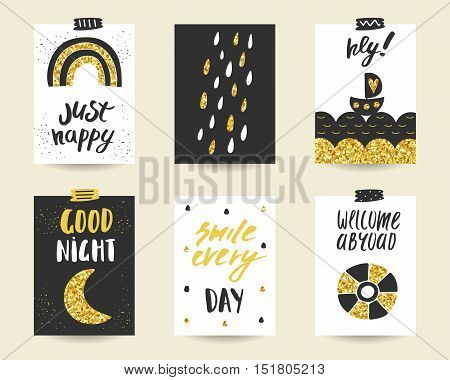 Cute doodle black and gold birthday party baby shower cards brochures invitations with rainbow rain drops sea boat moon ring buoy. Cartoon objects background. Printable templates set