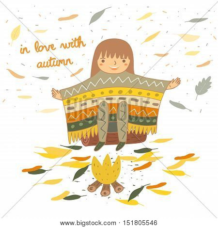 Cute hand drawn doodle card postcard with girl in ethnic poncho sitting near the fire. Autumn background cover brochure with leaves