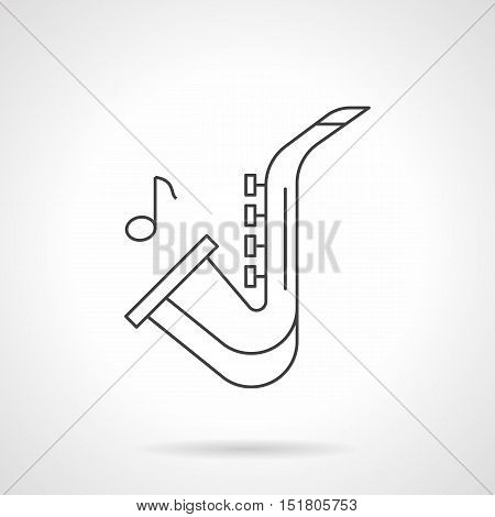 Symbol of saxophone and note. Jazz music concept. Woodwind and brass musical instruments. Black flat line vector icon.