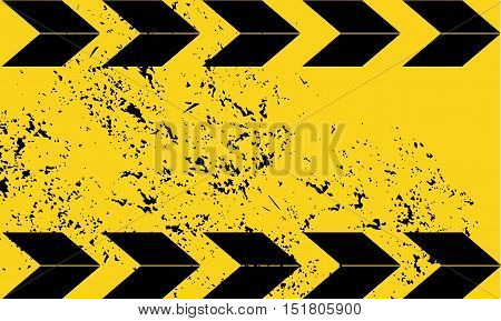 Black and yellow road sign rectangular background. Diagonal stripes. Texture grunge Warning Pattern danger tape background old rusty Vector illustration Grunge construction sign background Dangerous