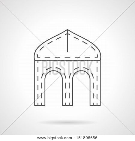 Architectural archways and elements. Ogee four-centered arch symbol. Gothic style buildings. Black flat line vector icon.